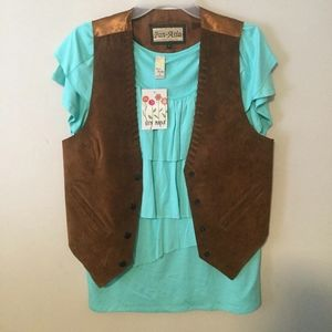 Pan-Asia VINTAGE vest with cute Sun Moda top